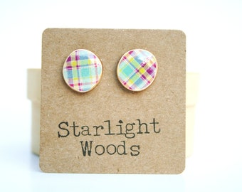 Plaid studs post earrings wood earrings minimalisti jewelry eco fashion eco friendly unique gift for her