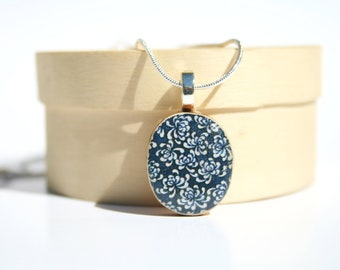 Blue Flower Pendant necklace navy floral boho delicate jewelry circle pendant eco friendly jewelry