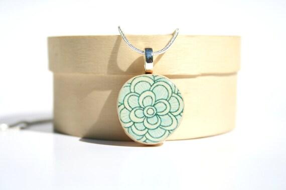 Blue Floral Pendant necklace best friend gift floral circle pendant eco friendly