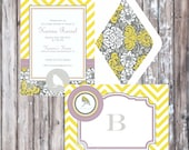 LITTLE BIRD Baby Shower or Birthday Party Invitation - Yellow and Gray Invitation