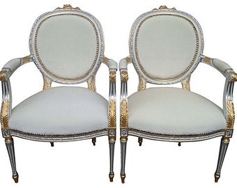 French Louis XVII Rococo Hollywood Glam Gilded Giltwood Silver Gold Ivory White Upholstered  Arm Bergere Chairs