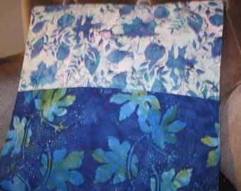 """14"""" x 14"""" Pillow Cover -  Maple and Oak Tree Leaves Aqua and Indigo Water Fine Batik Cottons"""