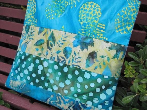 "14"" x 14"" Pillow Cover Tropical Pineapple Leaves Polka Dots Aquamarine Water Fine Batik Cottons"