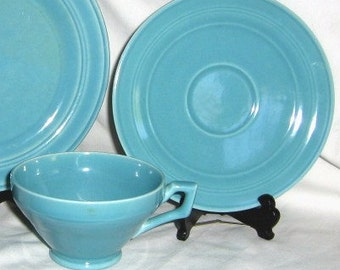 Early California turquoise cup and saucer by Vernon Kilns