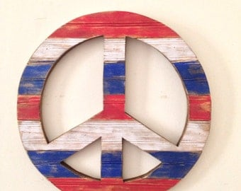 Rustic Wood Peace Sign Wall Decor -Red, White & Blue