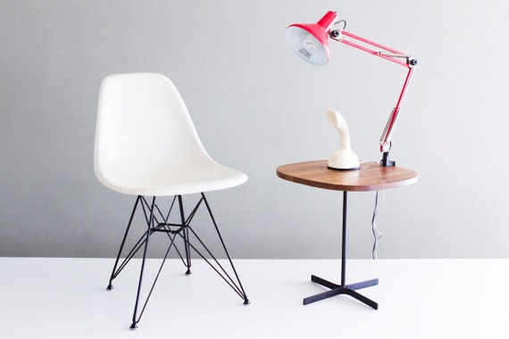 Eames Soft White Fiberglass Chair on Black Eiffel Base