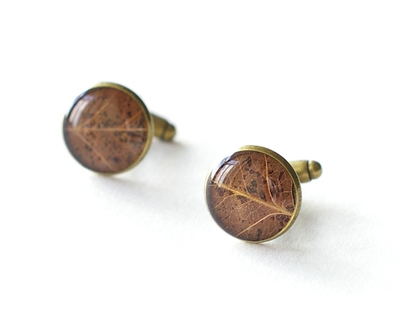 Real Leaf Cufflinks - brown unusual resin cuff links - Siberian pear