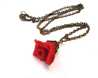 Vintage Inspired Polymer Clay Red Rose Necklace. Red Flower Pendant Necklace. Red Jewelry. Flower Jewelry