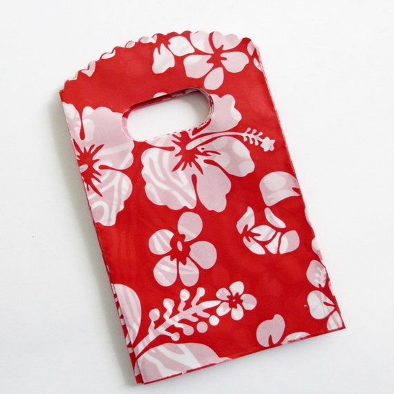 Small Flat Bags Red White Flowers 25 STR322