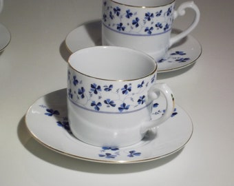4 Cups and Saucers. Beautiful I. Godinger China Blue Belle Pattern.