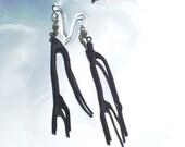 Black Elk Horn-Coral Earrings