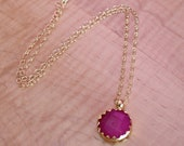 SALE Magenta Jade Pendant Necklace