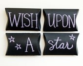 pillow box, star, galaxy, constellation, wish upon a star, purple, black chalkboard personalize writable surface gift - set of 4