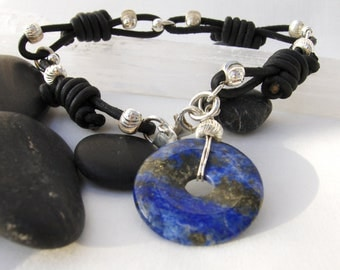Natural Stone, Raw Lapis Lazuli Gemstone, Sterling Silver & Black Leather Knotted Bracelet