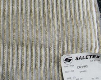 Designer Fabric Sample - Saletex Sheer and Chenille Fabric, Pattern Cabano, Color Sahara