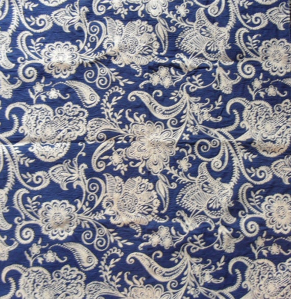 Vintage Designer Upholstery Fabric Sample - Blue and White Paisley Woven and Reversible