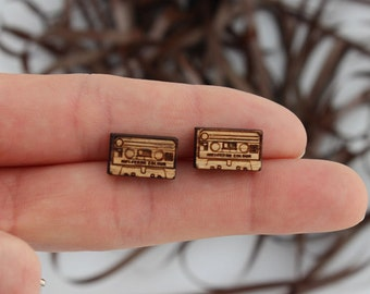 Wood laser cut earrings studs Retro cassette tape