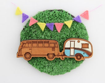 Wood laser cut brooch Cosy vintage Caravan and Kombi combo Hand painted blue and white
