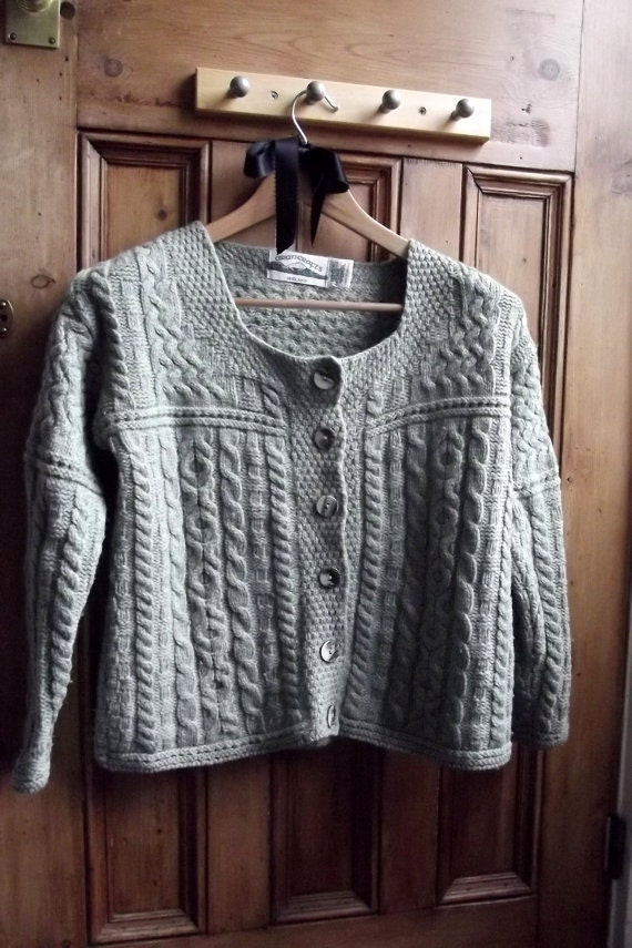 Womens clothing merino sweater irish cardigan vintage sage for Merino wool shirt womens