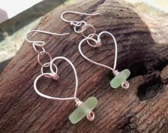 Sea glass jewelry,  Seafoam green sea glass and handformed sterling silver heart earrings