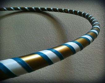 Greek Paradise Dance & Exercise Hula Hoop COLLAPSIBLE or Push Button - teal gold white