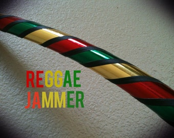 Reggae Jammer Dance & Exercise Hula Hoop COLLAPSIBLE Polypro, HDPE, beginner, lightweight, or weighted - rasta red gold green