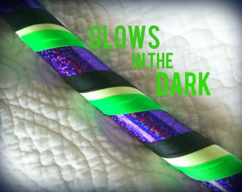 Beetlejuice Dance & Exercise Glow in the Dark Hula Hoop COLLAPSIBLE or Push Button - neon green purple black