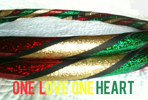 One Love Dance & Exercise Hula Hoop COLLAPSIBLE or Push Button  - rasta glitter red gold green