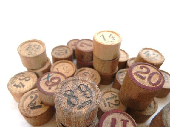 Antique French wooden lottery numbers. Loto . Supplies. Autumn .Fall