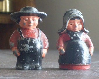 Vintage Cast Iron Salt and Pepper Shakers