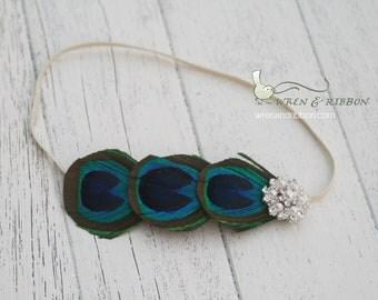 Peacock Headband - Newborn Girl Infant Baby Child Toddler Adult Headband