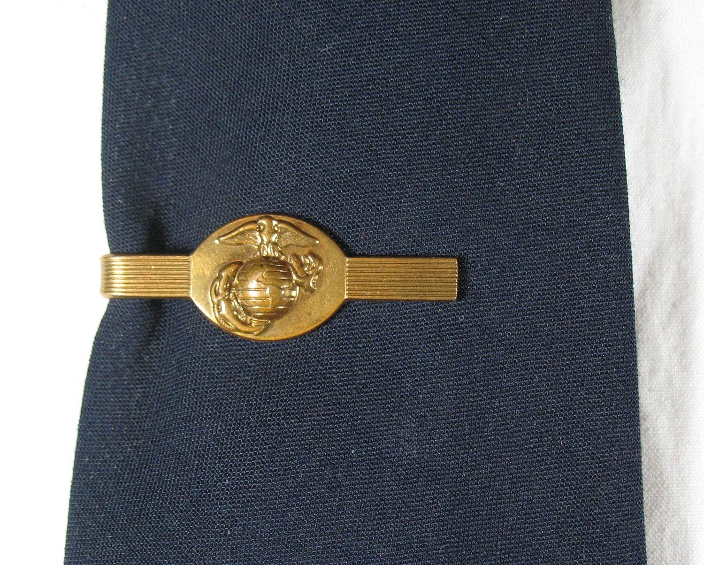 vintage brass marine corps tie clip