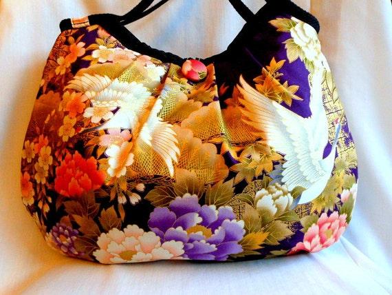 Japanese Bag Floral Fabric Hobo Bag Medium Purse Handbag Kimono Cotton fabric Cherry Blossom Crane Purple Gold Pink In Stock