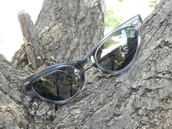 Vintage Cat Eye Glasses, Prescription Eyewear, American Optical, Gray, Black, Irridescent, Stripped
