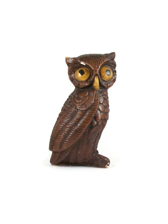 Brown Owl Figurine Statue Paperweight Knick Knack