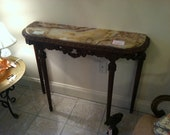 SALE Antique Marble Console Table with Carvings