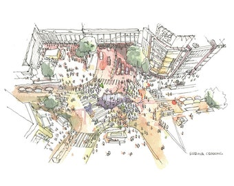 "Shibuya Crossing- Architectural sketch in watercolor and ink - 8.5""x5.5"" print"