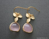 204- Prosperity  - Gold orchid and gold framed rose quartz color earrings