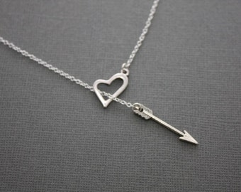 004- Love Heart and Arrow Lariat Necklace- Sterling Silver Necklace, Valentine's