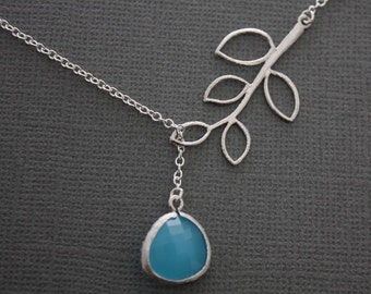 232- Five Leaf Branch with Silver Framed Sky Blue Stone lariat necklace, gift, sterling silver