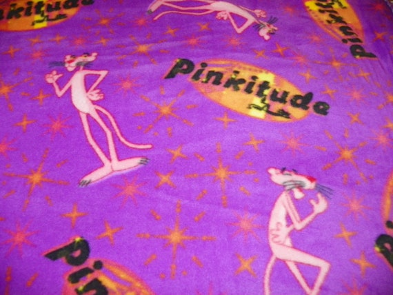 Pink Panther Fleece Fabric Purple Sold By The Yard By