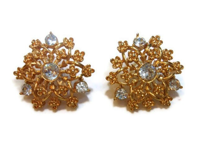 FREE SHIPPING Gold flower earrings, gold stud with rhinestones in circle or snowflake