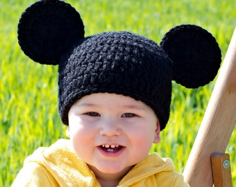 Mickey Mouse Inspired Baby Hat - Crochet Newborn Beanie