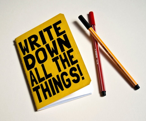 "Handmade notebook Yellow ""All the things""Journal. Sketchbook. Notepad. writing. Geek"