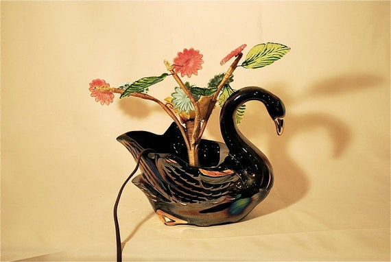 Vintage Iridescent Black Swan Lamp Sprouts a Glass Garden, Made in Ohio