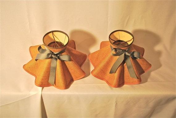 Pair of Bright Tan Burlap Shades with Gray Ribbon Trim, Vintage
