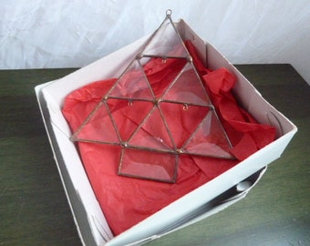 Vintage christmas tre hand cuted glass