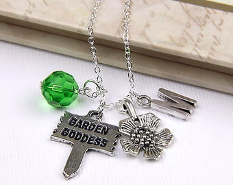 Personalized Gardeners Necklace with Your Initial and Birthstone