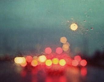 rain, yellow, blue, red, orange, green, night, bokeh, lights, fine art photography