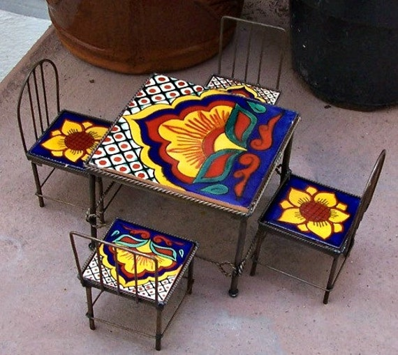 Aluminum Ermaksan Working Mexico: SALE Set Of Miniature Furniture Table 4 Chairs Handmade By